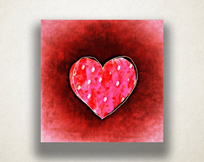 Polka Dot Heart Canvas Art Print, Heart Drawing Wall Art, Pink Canvas Print, Artistic Wall Art, Canvas Art, Canvas Print, Home Art, Wall Art