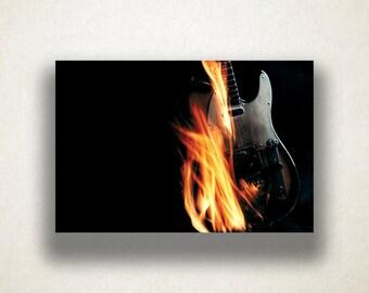 Guitar on Fire Canvas Art Print, Artistic Guitar Wall Art, Instrument Canvas Print, Artwork, Canvas Art, Canvas Print, Home Art, Wall Art
