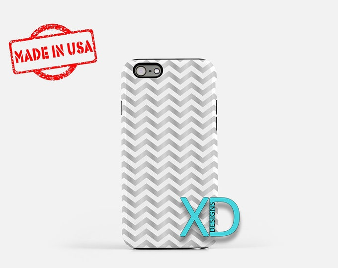 Gray Chevron Phone Case, Gray Chevron iPhone Case, Wavy iPhone 7 Case, Silver, Wavy iPhone 8 Case, Gray Chevron Tough Case, Clear Case