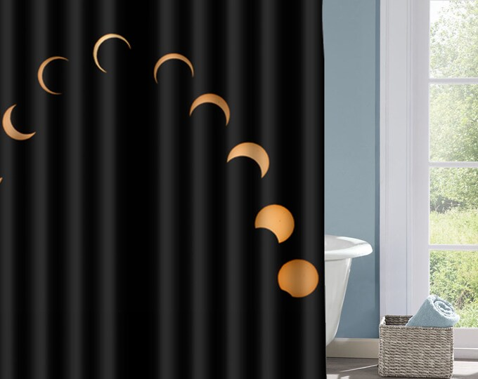 Moon Phases Shower Curtain, Space  Bath Curtain, Phases of the Moon Curtain, Interesting Shower Curtain, Custom Shower Curtain, Decorative