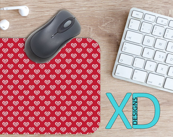 Valentine's Mouse Pad, Valentine's Mousepad, Hearts Rectangle Mouse Pad, Red, White, Hearts Circle Mouse Pad, Valentine's mat, Computer