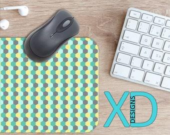 Hexagon Mouse Pad, Hexagon Mousepad, Polygon Rectangle Mouse Pad, Blue, Gray, Yellow, Polygon Circle Mouse Pad, Hexagon Mat, Computer, Tile