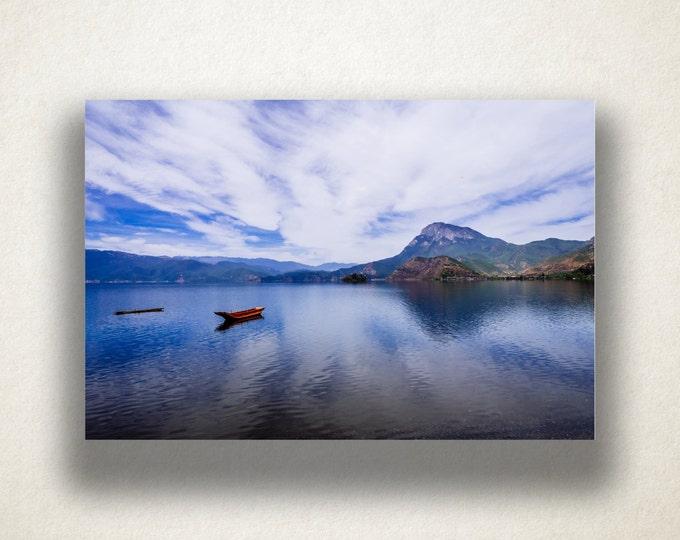 Fishing Boat on Lake Canvas Art, Fishing  Boat Wall Art, Lake and Mountain Canvas Print, Photograph, Canvas Print, Home Art, Wall Art Canvas