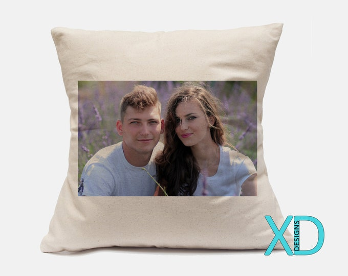 Photo Canvas Pillow Case, Soft Natural Canvas,  18x18 or 14x14 Beige Custom Pillow Case, Personalized Living Room and Bedroom Decor, 2 Sizes