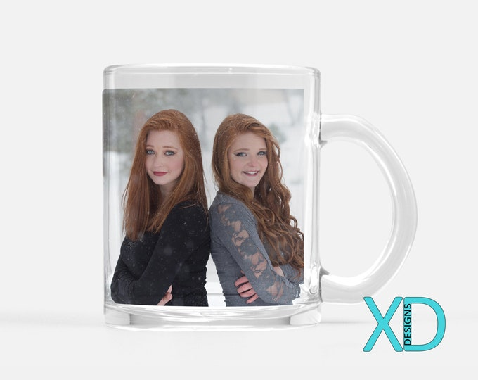 Custom Clear Glass Mug, 11 Fluid Oz., Photo Mugs, Personalized Cup, 1 or 2 Sided Design, Mother's Day Mug, Gift For Grandparents, Drinkware