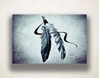 Native American Flowers Canvas Art Print, Feathers Wall Art, Artistic Wall Art, Canvas Art, Canvas Print, Home Art, Wall Art