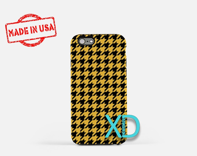 Houndstooth Phone Case, Houndstooth iPhone Case, Graphic iPhone 7 Case, Yellow, Graphic iPhone 8 Case, Houndstooth Tough Case, Clear Case