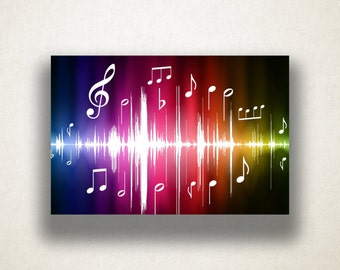 Rainbow Music Design Canvas Art Print, Rainbow Wall Art, Music Canvas Print, Abstract Wall Art, Canvas Art, Canvas Print, Home Art, Wall Art
