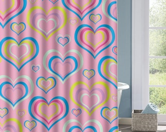 Multicolor Heart Bathroom Shower Curtain, Heart Pattern  Bath Curtain, Custom Polyester Shower Curtain, Custom Shower Curtain, Decorative