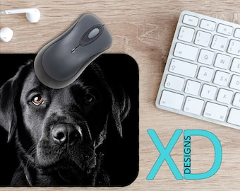 Black Lab Mouse Pad, Black Lab Mousepad, Dog Rectangle Mouse Pad, Black, Dog Circle Mouse Pad, Black Lab Mat, Computer, Labrador, Pet, Puppy
