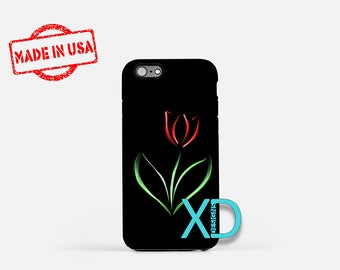 Red Tulip iPhone Case, Artistic Tulip iPhone Case, Tulip iPhone 8 Case, iPhone 6s Case, iPhone 7 Case, Phone Case, iPhone X Case, SE Case