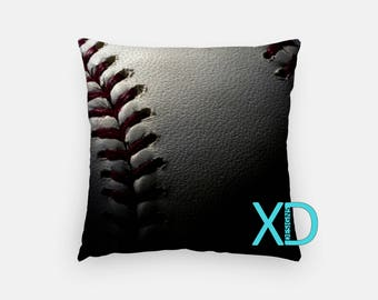 Baseball Pillow, Sports Pillow Cover, Stitch Pillow Case, White and Red Pillow, Artistic Design, Home Decor, Decorative Pillow Case, Sham