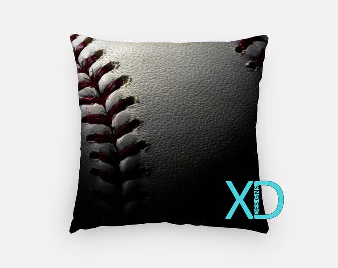 Baseball Pillow, Sports Pillow Cover, Stitch Pillow Case, White and Red Pillow, Artistic Design, Home Decor, Decorative Pillow Case, Sham