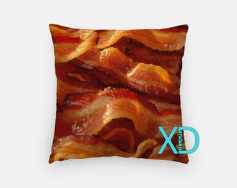 Bacon Strip Pillow, Crispy Pillow Cover, Food Pillow Case, Orange Red Pillow, Artistic Design, Home Decor, Decorative Pillow Case, Sham