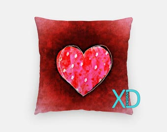 Valentine Pillow, Love Pillow Cover, Heart Pillow Case, Pink and Red Pillow, Artistic Design, Home Decor, Decorative Pillow Case, Sham