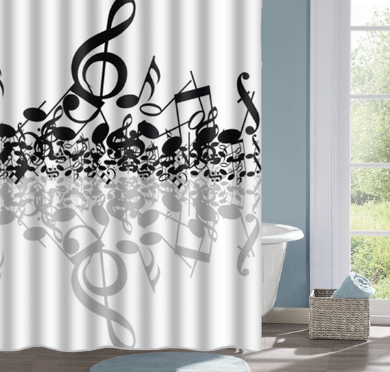 Music Notes Shower Curtain Bath Musical Interesting Custom Decorative