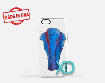 Blue Elephant iPhone Case, Animal iPhone Case, Elephant iPhone 8 Case, iPhone 6s Case, iPhone 7 Case, Phone Case, iPhone X Case, SE Case