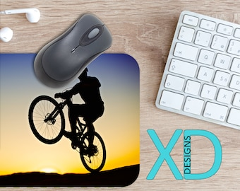 Biking Mouse Pad, Biking Mousepad, Bicycle Rectangle Mouse Pad, Black, Blue, Bicycle Circle Mouse Pad, Biking Mat, Computer, Mountain Bike