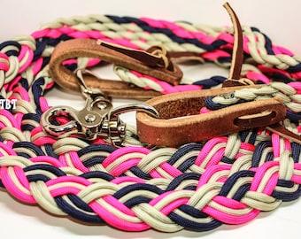 barrel reins, western reins, paracord reins, braided reins, water loops, 9 strand reins, reins, western reins, braided reins, paracord tack