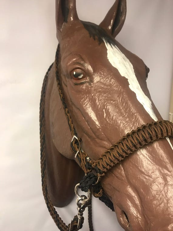 Horse tack, bitless bridle, side pull hackamore, simple headstall, black  and brown horse tack, braided paracord reins