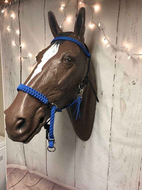 Purple 4 Knot Horsemanship Training Side Pull Bitless Bridle Rope Halter Rings