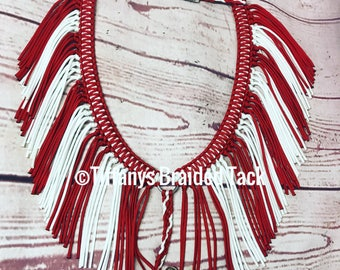 Fringe breast collar,  horse tack,  red and white  tack, breast collar, paracord tack, barrel racing