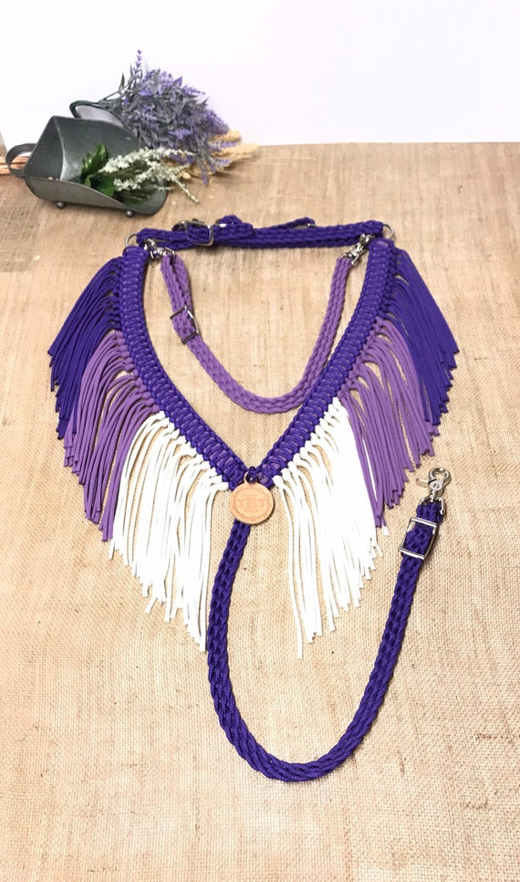Braided Breast Collar with Fringe Black//Purple//Lime NEW