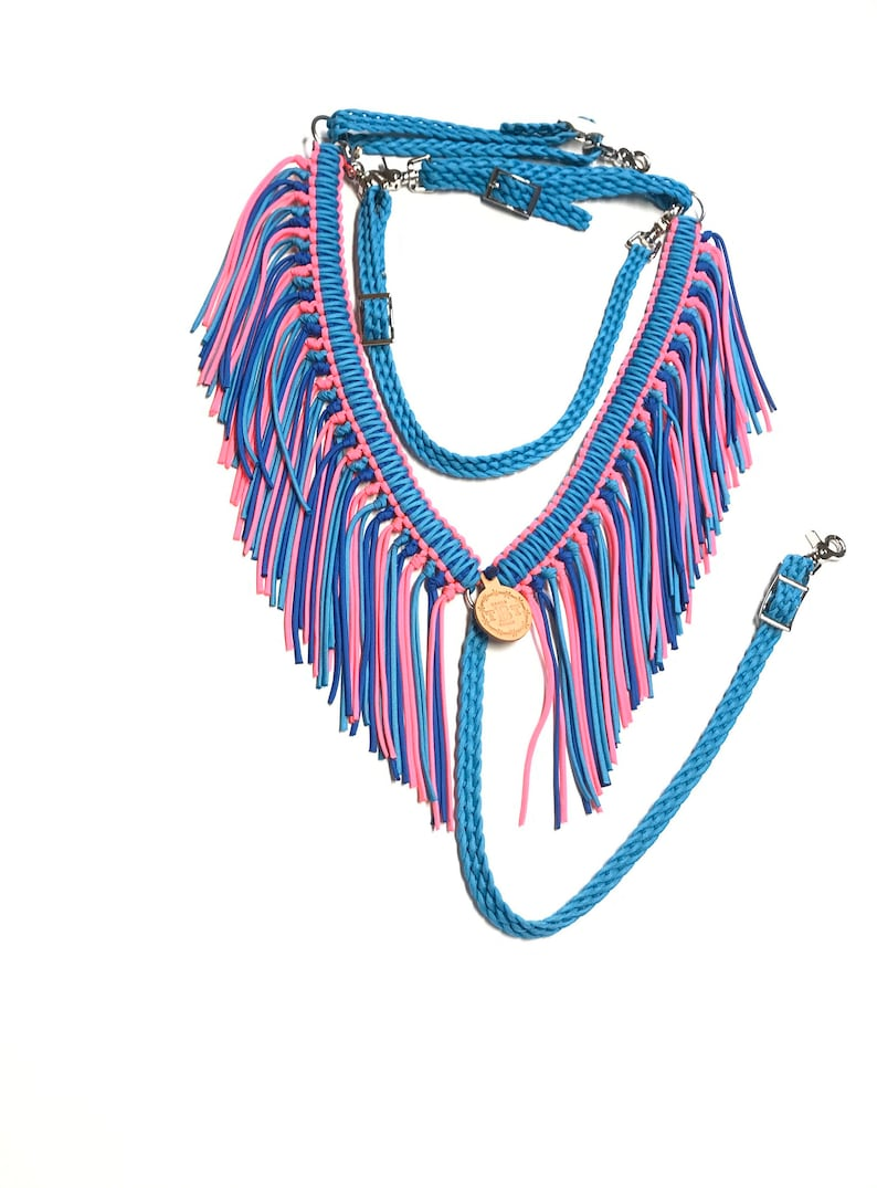 turquoise blue and hot pink horse tack horse tack Fringe breast collar paracord breast collar paracord tack barrel racer braided tack