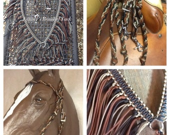 horse tack, paracord reins, braided bridle, headstall, paracord tack , Fringe breast collar, horse tack tan black and brown tack set