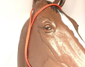 Orange War bonnet, tie down , custom horse tack, paracord, paracord horse tack, horse tack, barrel racing, braided horse tack, paracord tack