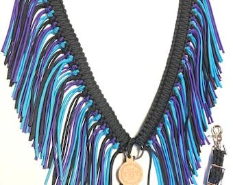 fringe breast collar, custom horse tack, Black breast collar, fringe horse tack, Purple horse tack, paracord fringe breast collar, horse