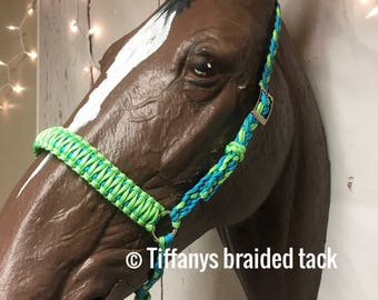 Tie down noseband, tie down, horse tack, paracord tack, lime and turquoise noseband