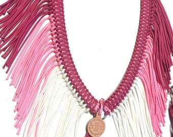 Pink Fringe breast collar, fringe breast collar, pink horse tack, horse tack, barrel racing, paracord breast collar, braided tack, horse