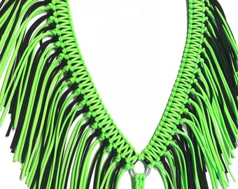 Fringe breast collar, horse tack, neon lime green horse tack, barrel racing, paracord breast collar, braided tack, custom tack,