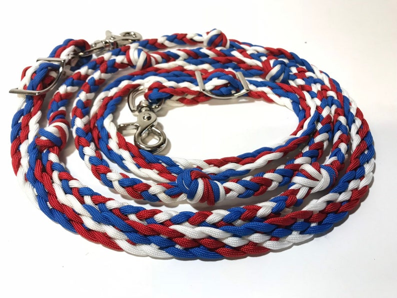 red white and blue barrel reins with grip knots