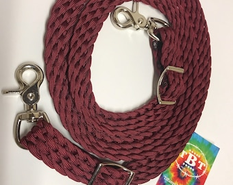 tie down strap, custom tie down strap,  braided tack, paracord horse tack