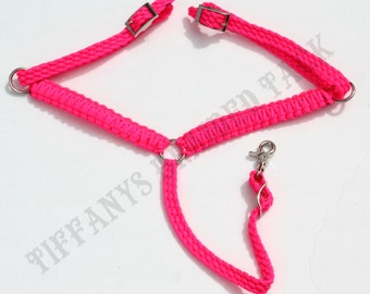 breast collar, pink horse tack, pink breast collar, paracord tack,  horse breast collar, Hot Pink,