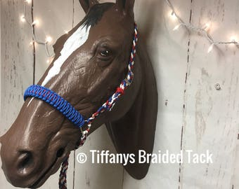 Tie down noseband, tie down, horse tack, paracord tack, red white and blue noseband