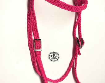 Pink Bridle, headstall, western tack, horse tack, horse, custom bridle, you choose color, braided tack, paracord tack