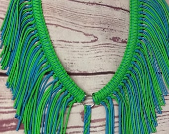 Fringe breast collar horse tack turquoise and neon green rodeo tack