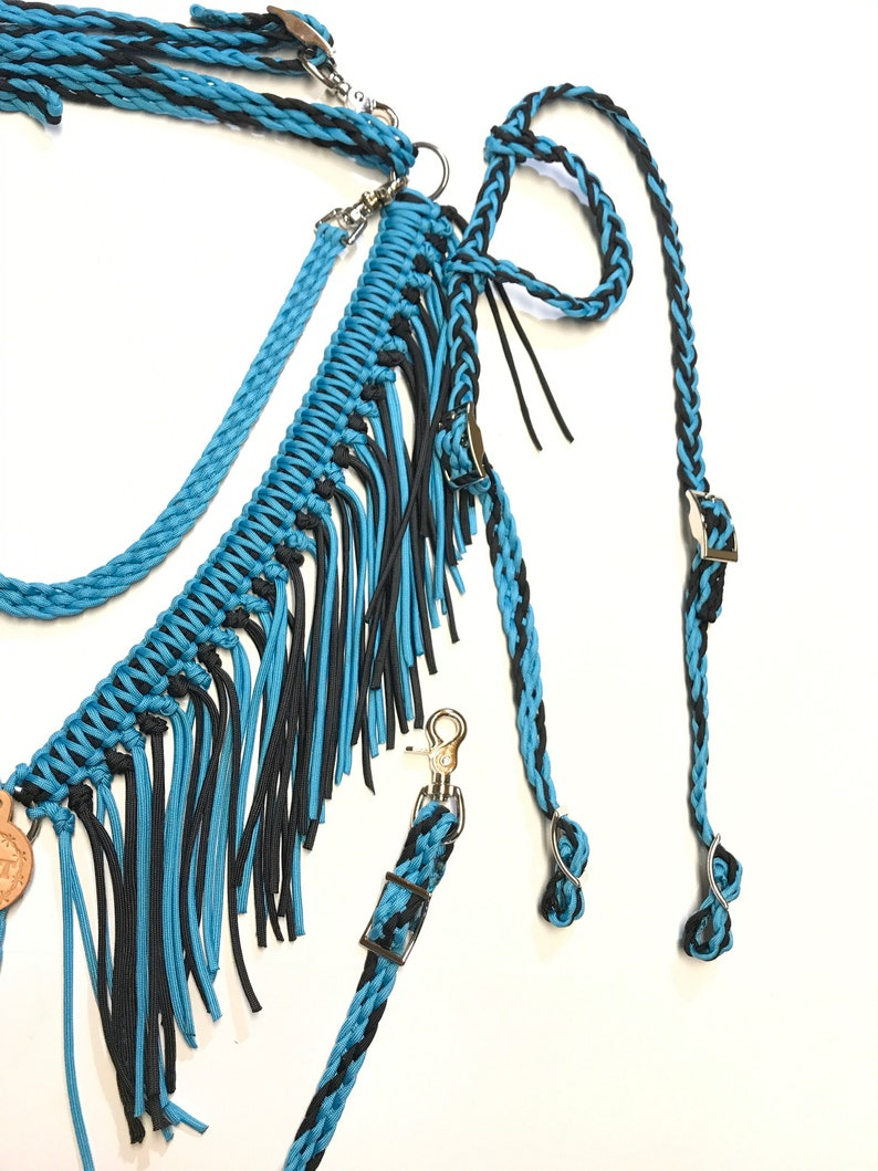 Horse tack set turquoise and black