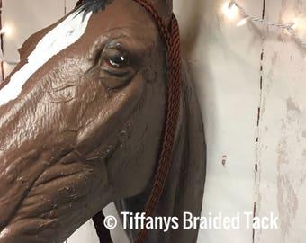 Brown War bonnet, tie down , custom horse tack, paracord, paracord horse tack, horse tack, barrel racing, braided horse tack, paracord war b