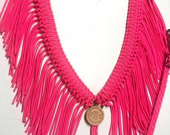 fringe breast collar, custom horse tack, pink breast collar, hot pink horse tack, neon pink horse tack, paracord fringe breast collar