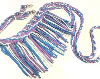 Draft horse Fringe reins, draft horse reins, draft horse tack, barrel reins, reins, fringe barrel reins, pink reins, fringe horse tack