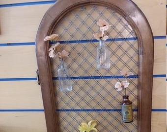SOLD OUT!! Hanging Wall Planter, Storage Rack. Repurposed from a Vintage Gothic Style Cabinet Door & Various Bottles,Vintage and Antique.