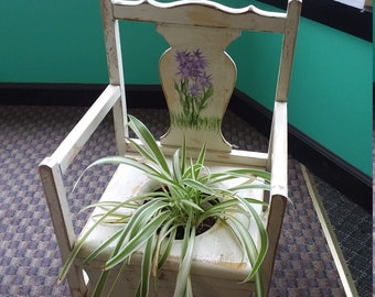 Shabby Chic Child's Vintage Wooden Potty Chair. Garden Planter. Yard Art. Distressed White with Hand Painted Flowers. Free Shipping!