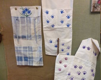Hand Made Wall Apron. Hanging Fabric Storage Bag, Organizer. Kids Play Room, Craft Room, Kitchen, Bathroom, Bedroom, Free Shipping!