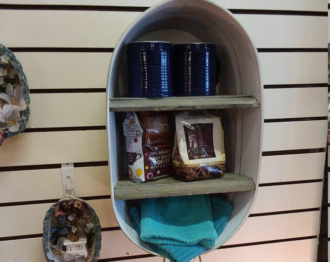 Featured listing image: Washtub Bucket Upcycled Hanging Wall Shelf Cupboard Towel Rack or Coffee Cabinet. Great for a Bathroom, Kitchen or Bar. Worldwide Shipping!