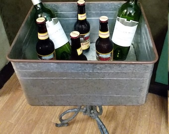 Outdoor Drink Station or Bathroom Towel Holder. Wash Tub Bucket Stand. Cottage Chic, Rustic Farm House or Wedding Decor. Ships Worldwide