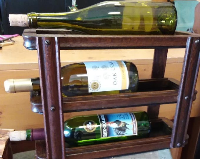 Featured listing image: Antique Singer Sewing Cabinet Drawer Frame Wine Rack. Wine Bottle Holder. Bar, Kitchen, Storage and Home Decor. Worldwide Shipping!!